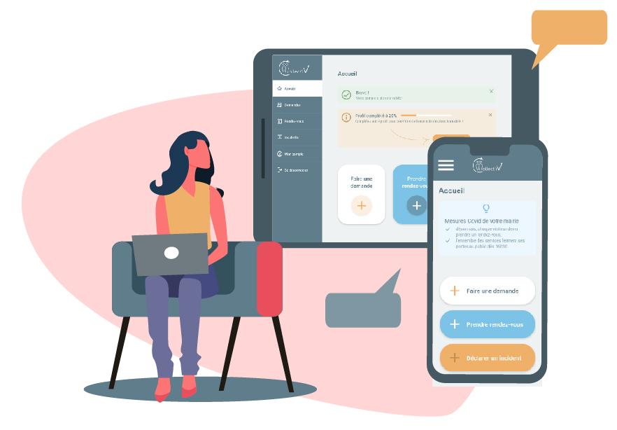 Un usager se connecte à l'interface de GRU web et mobile Collect'iV